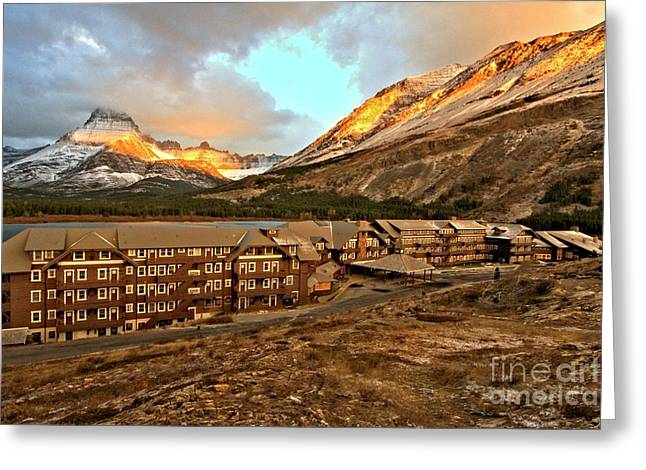 Many Glacier Greeting Cards - Morning Glow Greeting Card by Adam Jewell