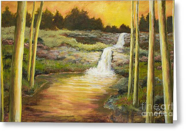 Morning Glow By Vic Mastis With Oil And Gold Leaf Greeting Card by Vic  Mastis