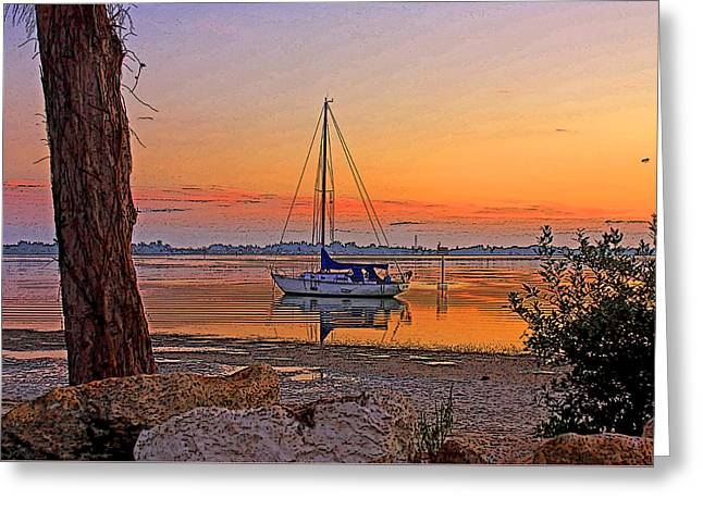 Sailboat Photos Greeting Cards - Morning Glow Greeting Card by HH Photography of Florida
