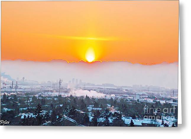 Storm Prints Digital Art Greeting Cards - Morning Glow Greeting Card by Irfan Gillani
