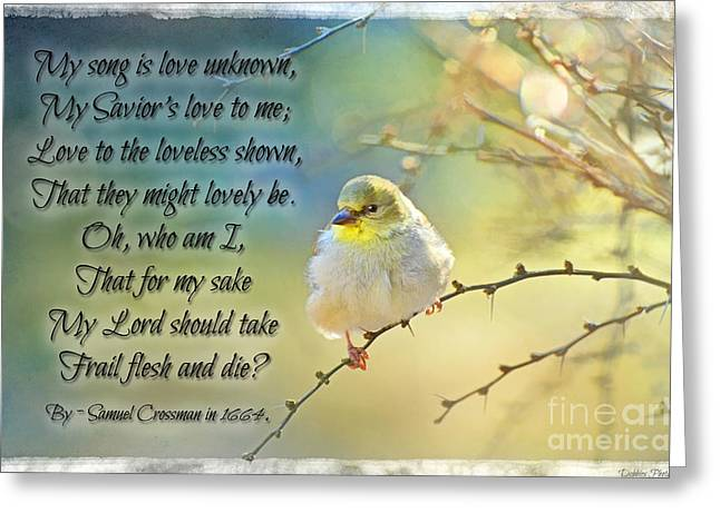 Goldfinch Digital Art Greeting Cards - Morning Goldfinch with verse II Greeting Card by Debbie Portwood
