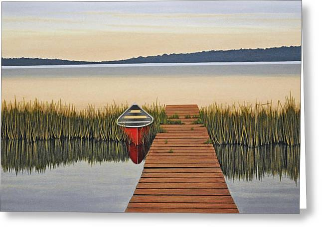 Canoe Paintings Greeting Cards - Morning has Broken Greeting Card by Kenneth M  Kirsch