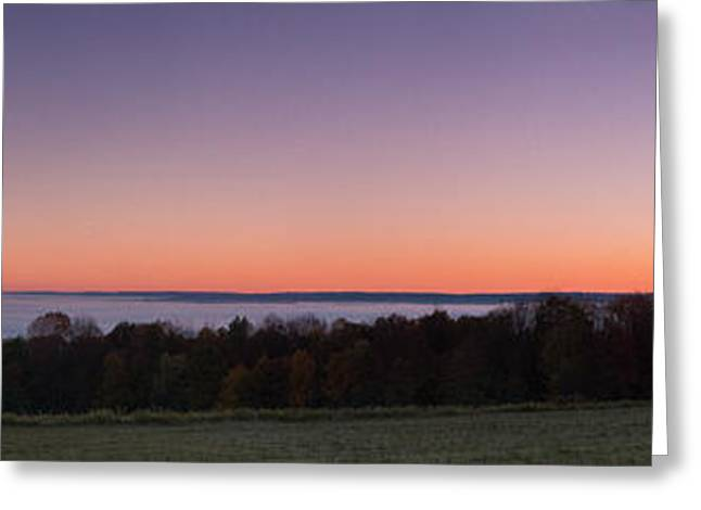 Mist Photographs Greeting Cards - Morning has broken over a misty valley Greeting Card by Chris Bordeleau