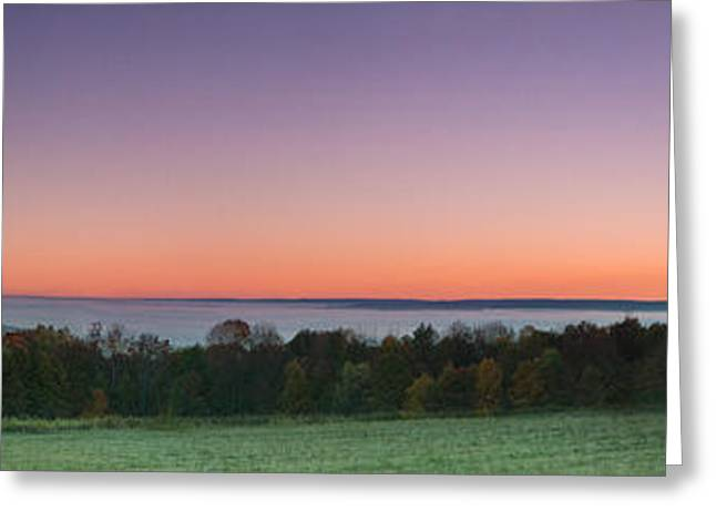 Mountain Valley Greeting Cards - Morning has broken over a misty valley narrow Greeting Card by Chris Bordeleau