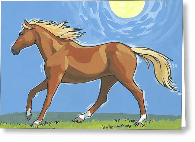 Horses Running Greeting Cards - Morning Horse square version Greeting Card by Tracie Thompson