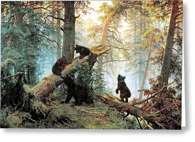 Morning In A Pine Forest Greeting Cards - Morning In A Pine Forest Greeting Card by Ivan Shishkin