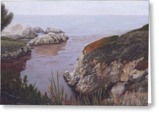 Big Sur Ca Paintings Greeting Cards - Morning in Carmel Greeting Card by Terry Guyer