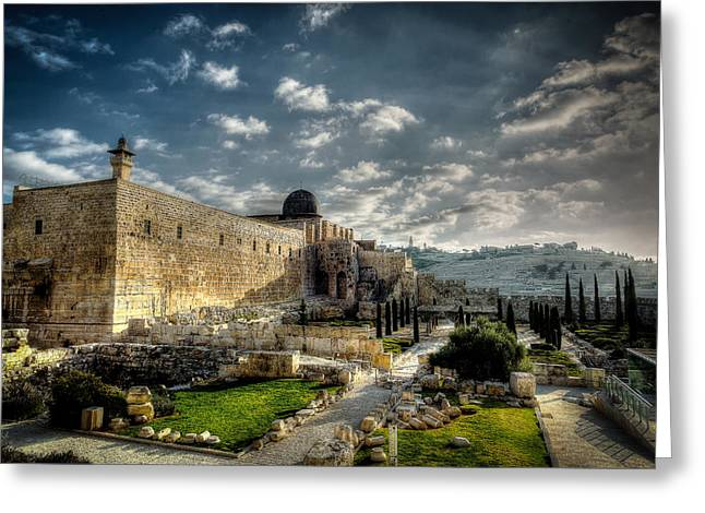Mount Olives Greeting Cards - Morning in Jerusalem HDR Greeting Card by David Morefield