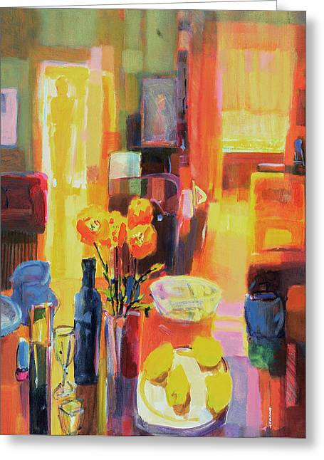 Indoor Still Life Paintings Greeting Cards - Morning in Paris Greeting Card by Martin Decent
