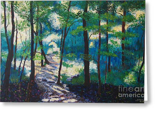 Warner Park Greeting Cards - Morning Sunshine in Park Forest Greeting Card by Arthur Witulski