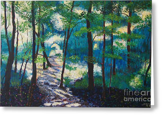 Percy Warner Park Greeting Cards - Morning Sunshine in Park Forest Greeting Card by Arthur Witulski