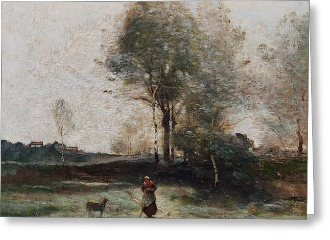 Apron Greeting Cards - Morning in the Field Greeting Card by Jean Baptiste Camille Corot