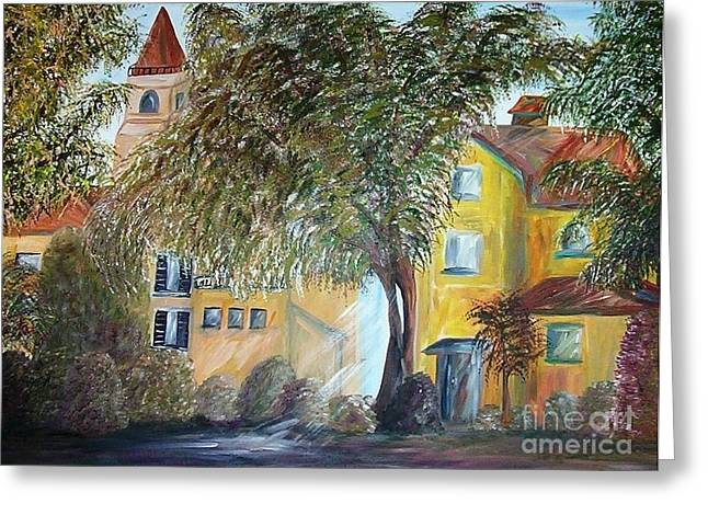 Greece Vineyards Greeting Cards - Morning in the Old Country Greeting Card by Eloise Schneider