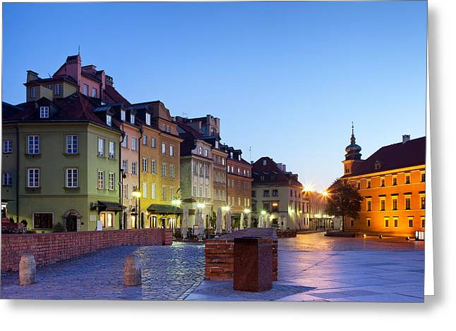 Polish Old Town Greeting Cards - Morning in the Old Town of Warsaw Greeting Card by Artur Bogacki