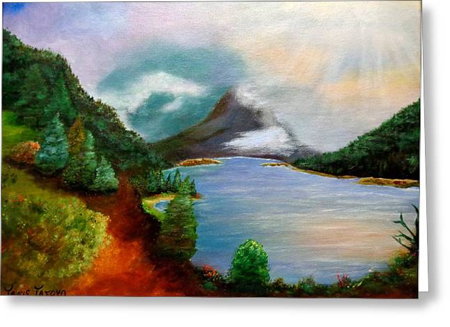 Pinion Paintings Greeting Cards - Morning in the Rockies Greeting Card by Janis  Tafoya
