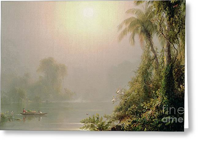 Canoe Greeting Cards - Morning in the Tropics Greeting Card by Frederic Edwin Church