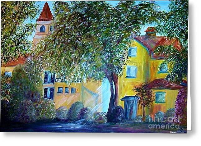 Greece Vineyards Greeting Cards - Morning in Tuscany Greeting Card by Eloise Schneider