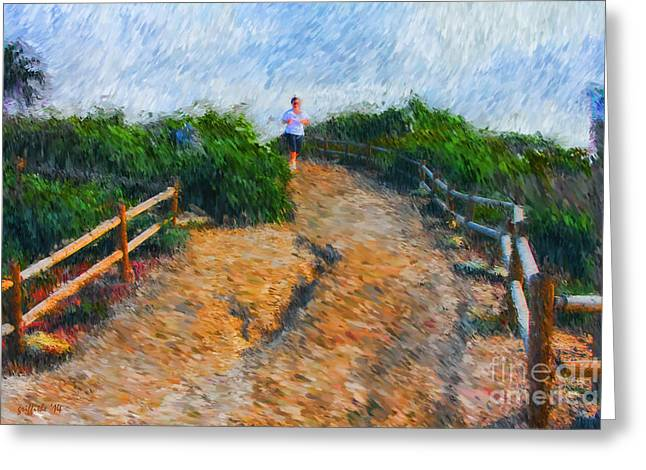 Jogging Photographs Greeting Cards - Morning Jog Greeting Card by Tom Griffithe