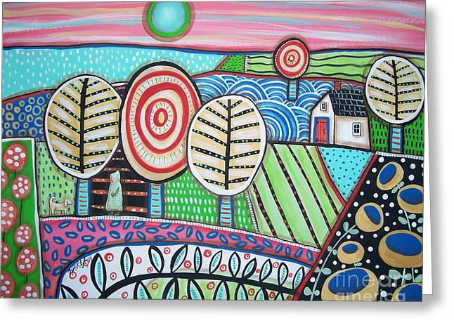 Folk Art Landscapes Greeting Cards - Morning Greeting Card by Karla Gerard