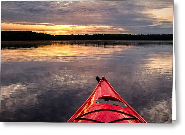 Reflections On The Lake Greeting Cards - Morning Kayak Greeting Card by Jeff Sinon