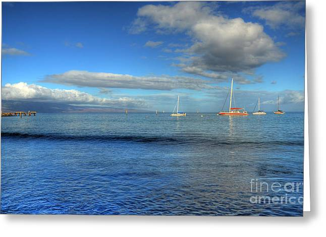 Sailboat Ocean Greeting Cards - Morning Lahaina Harbor Greeting Card by Kelly Wade