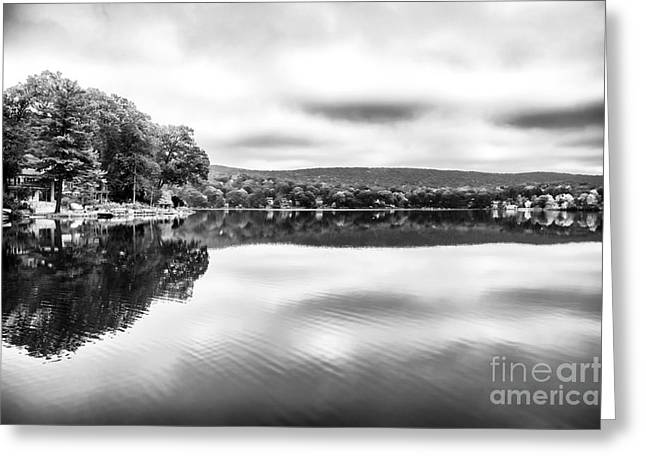 Red School House Greeting Cards - Morning Lake View Greeting Card by John Rizzuto