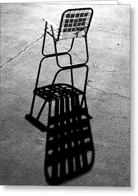 Lawn Chair Greeting Cards - Morning Lawn Chair in Mono Greeting Card by Christopher McKenzie
