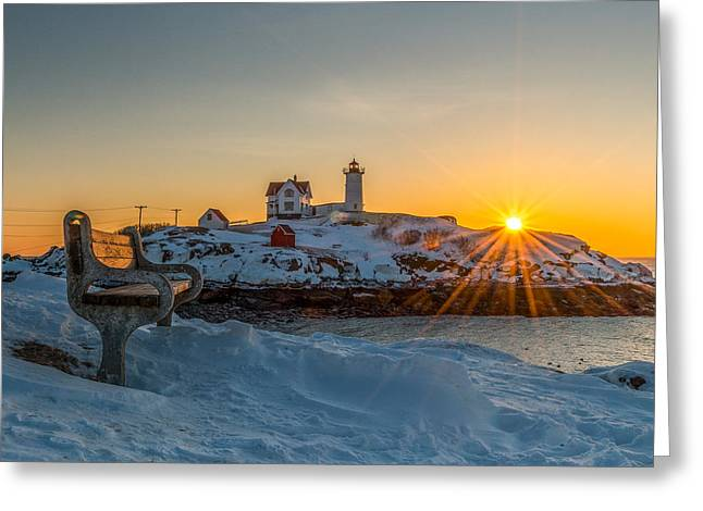 Cape Neddick Lighthouse Greeting Cards - Morning light at Nubble Lighthouse Greeting Card by Bryan Xavier