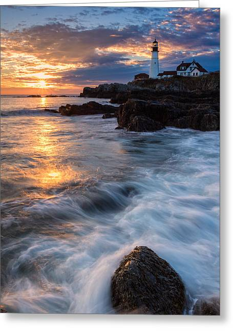 Maine Lighthouses Greeting Cards - Morning Light At Portland Head Greeting Card by Jeff Sinon