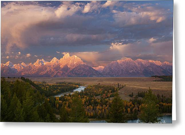 Reflections In River Greeting Cards - Morning light at Snake River Overlook Greeting Card by Keith Kapple