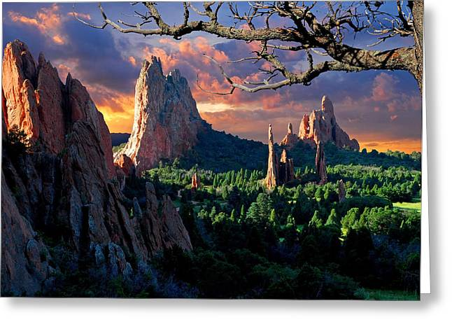 Clouds Posters Greeting Cards - Morning Light at the Garden of the Gods Greeting Card by John Hoffman