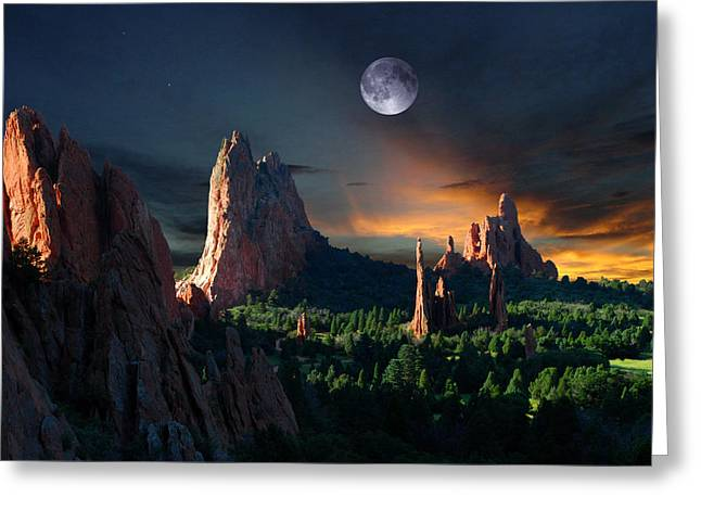 Colorado Mountain Posters Greeting Cards - Morning Light at the Garden of the Gods with Moon  Greeting Card by John Hoffman