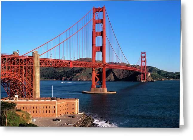 Morning Light Bathes The Golden Gate Greeting Card by John Alves