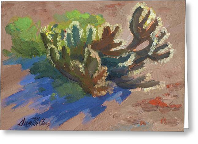 Desert Lake Paintings Greeting Cards - Morning Light Cholla Greeting Card by Diane McClary