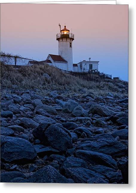 New England Lighthouse Greeting Cards - Morning Light - Eastern Point Lighthouse Greeting Card by Joann Vitali