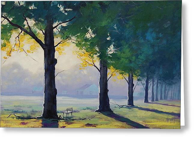 Park Benches Paintings Greeting Cards - Morning Light Greeting Card by Graham Gercken