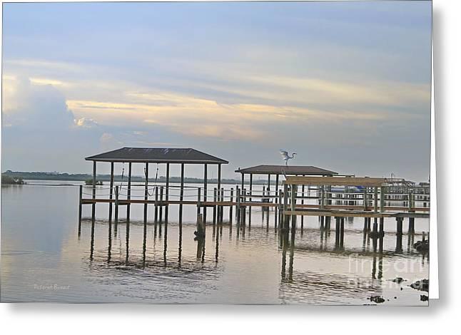 Water Scape Greeting Cards - Morning Light In Port Orange Greeting Card by Deborah Benoit