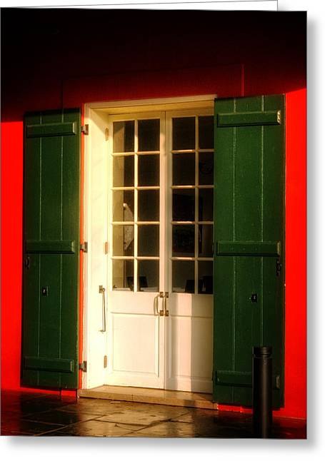French Door Greeting Cards - Morning Light On A French Quarter Door Greeting Card by Chrystal Mimbs