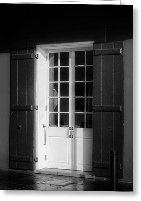 French Doors Greeting Cards - Morning Light On A French Quarter Door in Black and White Greeting Card by Chrystal Mimbs
