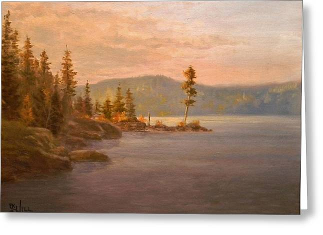 Morning Light On Coeur D'alene Greeting Card by Paul K Hill