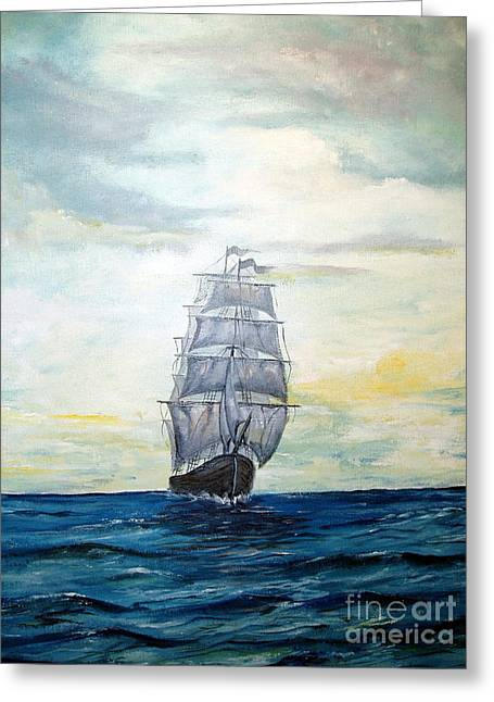 Wooden Ship Paintings Greeting Cards - Morning Light On The Atlantic Greeting Card by Lee Piper