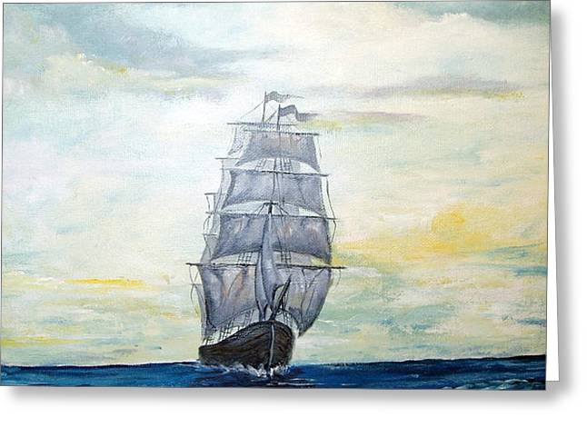 Morning Light On The Atlantic Greeting Card by Lee Piper