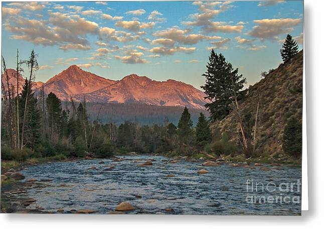 Wow Greeting Cards - Morning Light On The Sawtooth Mountains Greeting Card by Robert Bales