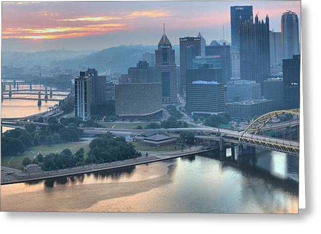 Incline Greeting Cards - Morning Light Over the city of Bridges Greeting Card by Adam Jewell