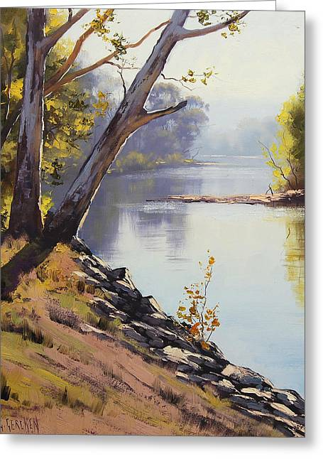 Beautiful Creek Paintings Greeting Cards - Morning Light Tumut River Greeting Card by Graham Gercken