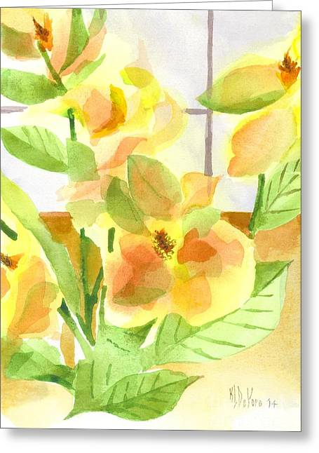 Green And Yellow Greeting Cards - Morning Magnolias Greeting Card by Kip DeVore
