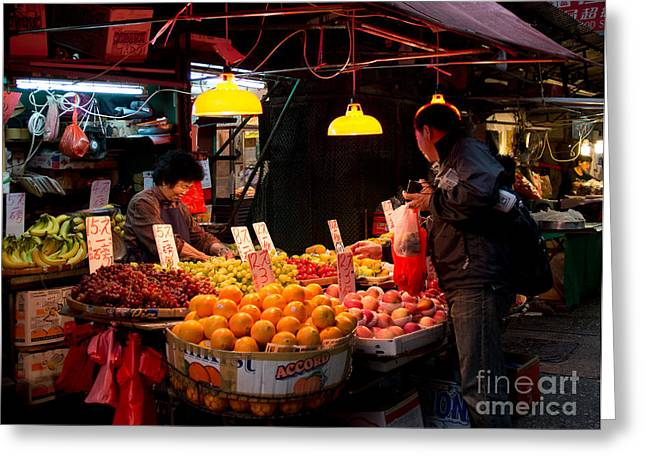 Oriental Woman Photos Greeting Cards - Morning market Greeting Card by Ivy Ho