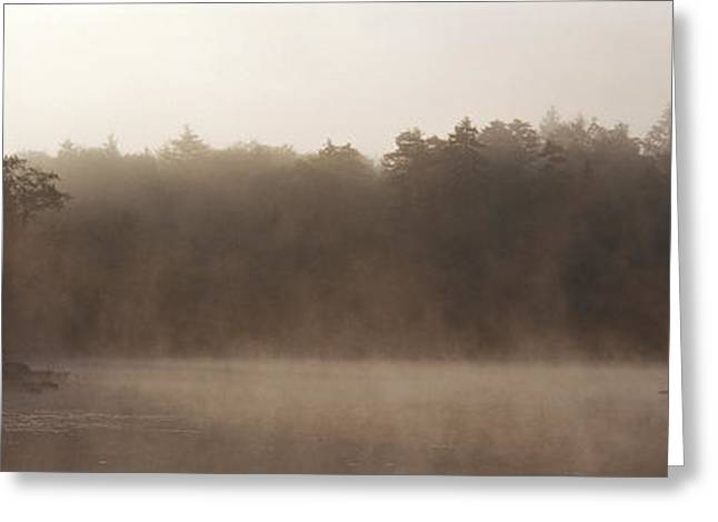 Envelop Greeting Cards - Morning Mist Adirondack State Park Old Greeting Card by Panoramic Images