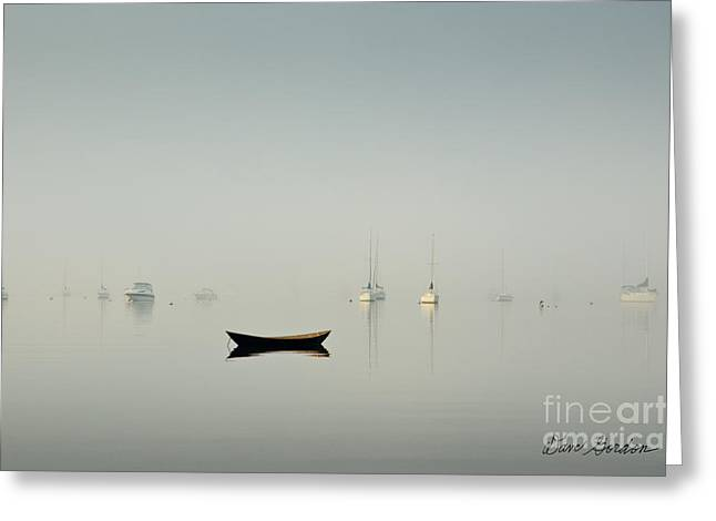 Meditative Greeting Cards - Morning Mist Bristol Harbor Greeting Card by David Gordon