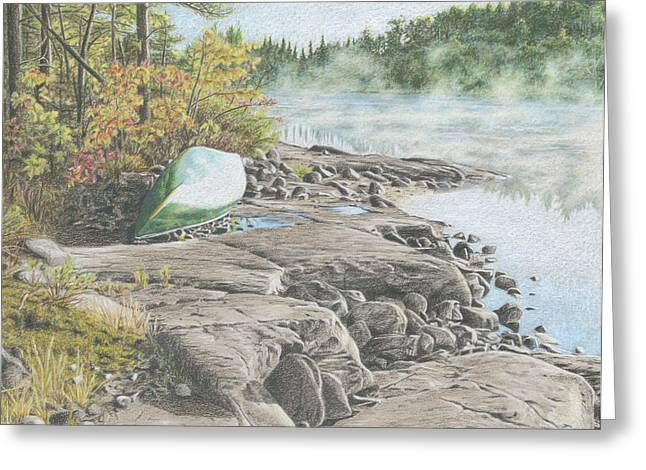 Canoe Drawings Greeting Cards - Morning Mist Greeting Card by Clare Douglas